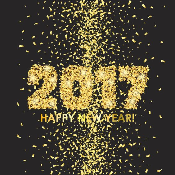 New Year 2017 celebration background. Happy New Year colorful digital type on black background with gold confetti. Greeting card template. Vector illustration.